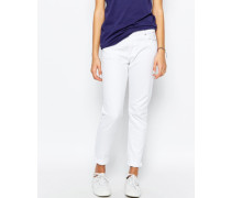 Boyfriend-Jeans Weiß