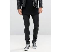 Sehr enge Jeans in schwarzer Lederoptik Schwarz