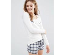 Glossop Langärmliges Pyjamaoberteil Weiß