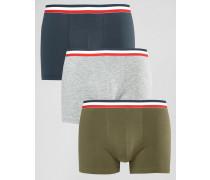 3er Pack Boxershorts mit rot gestreiftem Taillenbund Mehrfarbig