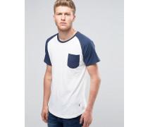 Raglan-T-Shirt mit Tasche und Rundsaum Weiß