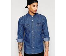 Jeans-Hemd mit doppelter Tasche, reguläre Passform Blau