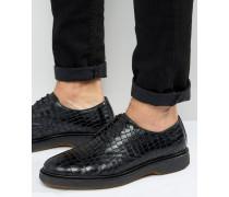 Derby-Schuhe in Kroko-Schwarz Schwarz