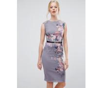 Figurbetontes Kleid aus Chiffon mit Blumenmuster Grau