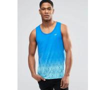Schmal geschnittenes Trägershirt mit Geomuster in blaugefleckter Färbung Blau
