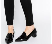 Spitze Loafer mit Absatz Schwarz