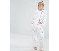 Pyjama-Set mit Hemd und Hose mit Muster Weiß
