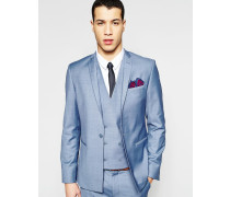 Enge Anzugjacke in Blau mit geradem Saum Blau