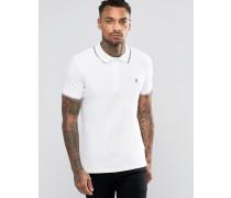 T-Skin Pikee-Polohemd mit Streifen an Kragen und an den Ärmelabschlüssen Weiß