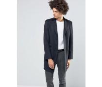 Hochwertiger Mantel aus 80% italienischer Melton-Wolle mit Samtkragen Schwarz