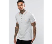 T-Skin Pikee-Polohemd mit Streifen an Kragen und an den Ärmelabschlüssen Grau