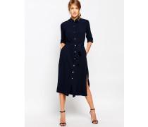 Closet Lang geschnittenes Hemdkleid mit Gürtel Marineblau