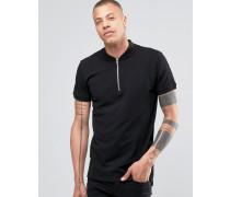 SOLID! Polohemd mit Reißverschluss am Ausschnitt Schwarz