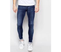 Kissy Low Spray On Superenge Jeans in heller 2nd Hand-Waschung Blau