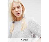 5er Pack glitzernde Haargummis Silber