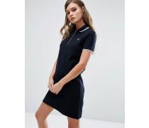 Piqué-Kleid mit Reißverschluss am Ausschnitt Marineblau