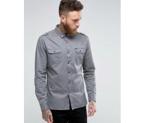 Hemd im Military-Stil Grau