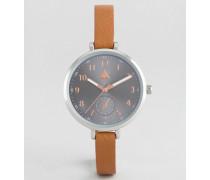 Schmale Armbanduhr mit großem Ziffernblatt in Grau Bronze