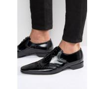 Escobar Derby-Schuhe im Budapester-Stil in Kroko-Optik Schwarz