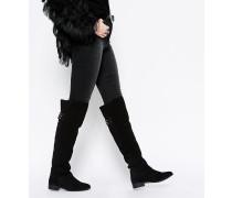 KIMBER Overknee-Stiefel aus Leder mit Nietenbesatz Schwarz
