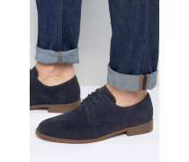 Marineblaue Derby-Schuhe in Wildlederoptik Marineblau