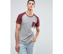 Raglan-T-Shirt mit Tasche und Rundsaum Grau