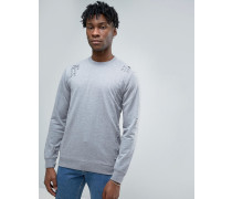 Sweatshirt in Distressed-Optik Grau