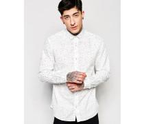 Enges Hemd mit Druckmuster Weiß