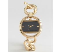 Uhr mit glattem Panzerarmband und T-Verschluss Gold