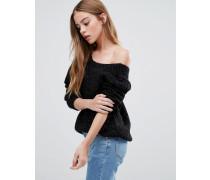 Pullover mit V-Ausschnitt hinten in Metallic Schwarz