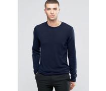 Pullover aus Kaschmirwollmischung mit Rundhalsausschnitt Marineblau