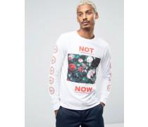 Langärmliges T-Shirt mit Statement-Blumenprint und Print an den Ärmeln Weiß