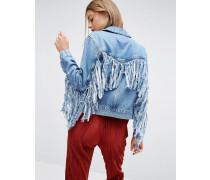 Denim Jacke in mittelblauer Waschung mit Fransen auf der Rückseite Blau