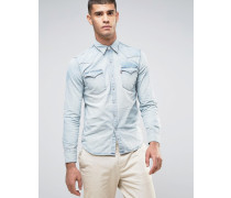 Levi's Barstow Westernhemd in in heller Waschung Gritty Patch Blau