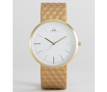 Goldene Uhr mit geprägtem Armband Gold