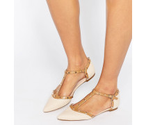 Heti Spitze flache Schuhe mit Nietenbesatz Beige