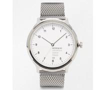 Helvetica Uhr mit Netzarmband Silber
