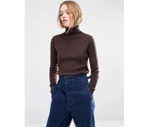 Hochgeschlossener Pullover mit Rippen Braun