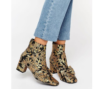 RAYAL Ankle-Boots mit Schleife Gold
