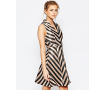 Ausgestelltes Kleid mit Streifen Mehrfarbig