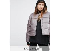 Übergroße, wattierte Jacke ohne Kragen aus luxuriösem Stoff Steingrau