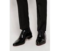 Oxford-Schuhe aus schwarzem Leder mit Zehenkappe Schwarz