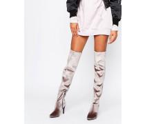 Overknee-Stiefel aus Samt mit hohem Absatz Braun