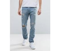 Skinny-Jeans mit Destroyed-Optik in heller Waschung Blau