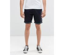 Chino-Shorts mit Punktemuster und Krempelsaum Marineblau