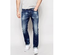 Jeans Thavar 848C Enge Stretch-Jeans in heller Waschung und Distressed-Optik Blau