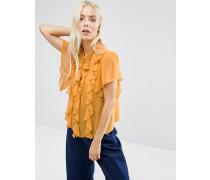 Kurzärmlige, gerüschte Bluse mit Bindebändern Gelb