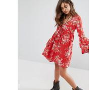 Babydoll mit Blumen-Print Rot