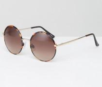 Runde Sonnenbrille im Stil der 90er Jahre Braun