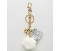 Mini-Handtasche & Bommel-Schlüsselanhänger Silber